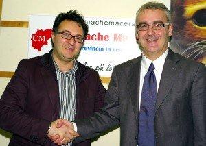 Massimiliano Bianchini con Romano Carancini quando erano impegnati nel ballottaggio delle primarie del centro sinistra