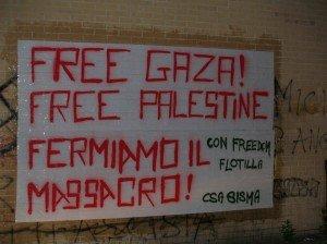 striscione free gaza