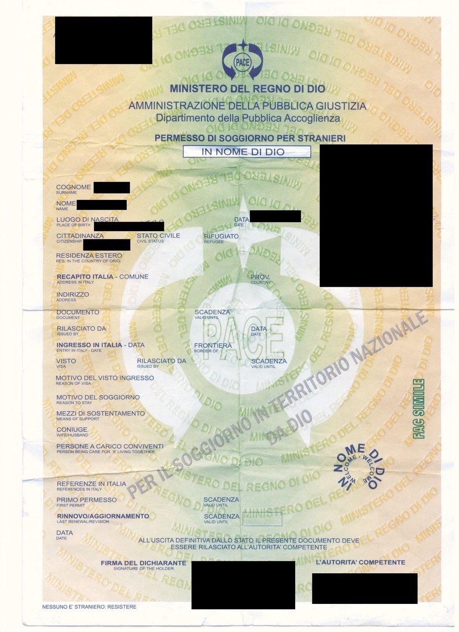 """Mostra ai carabinieri permesso di soggiorno rilasciato dal """"Regno di ..."""