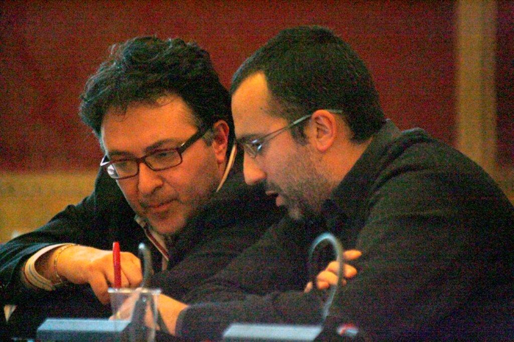 Antonio Carlini in Consiglio comunale con Massimiliano Bianchini