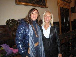Deborah Pantana con l'onorevole Olimpia Tarzia durante una visita a Macerata negli anni scorsi