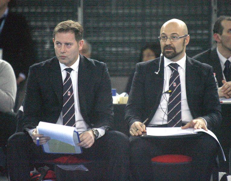 I coach della Lube Alberto Giuliani e Francesco Cadeddu