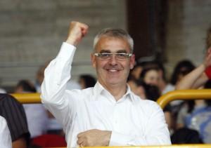 Romano Carancini in una recente sfida della Lube al Fontescodella