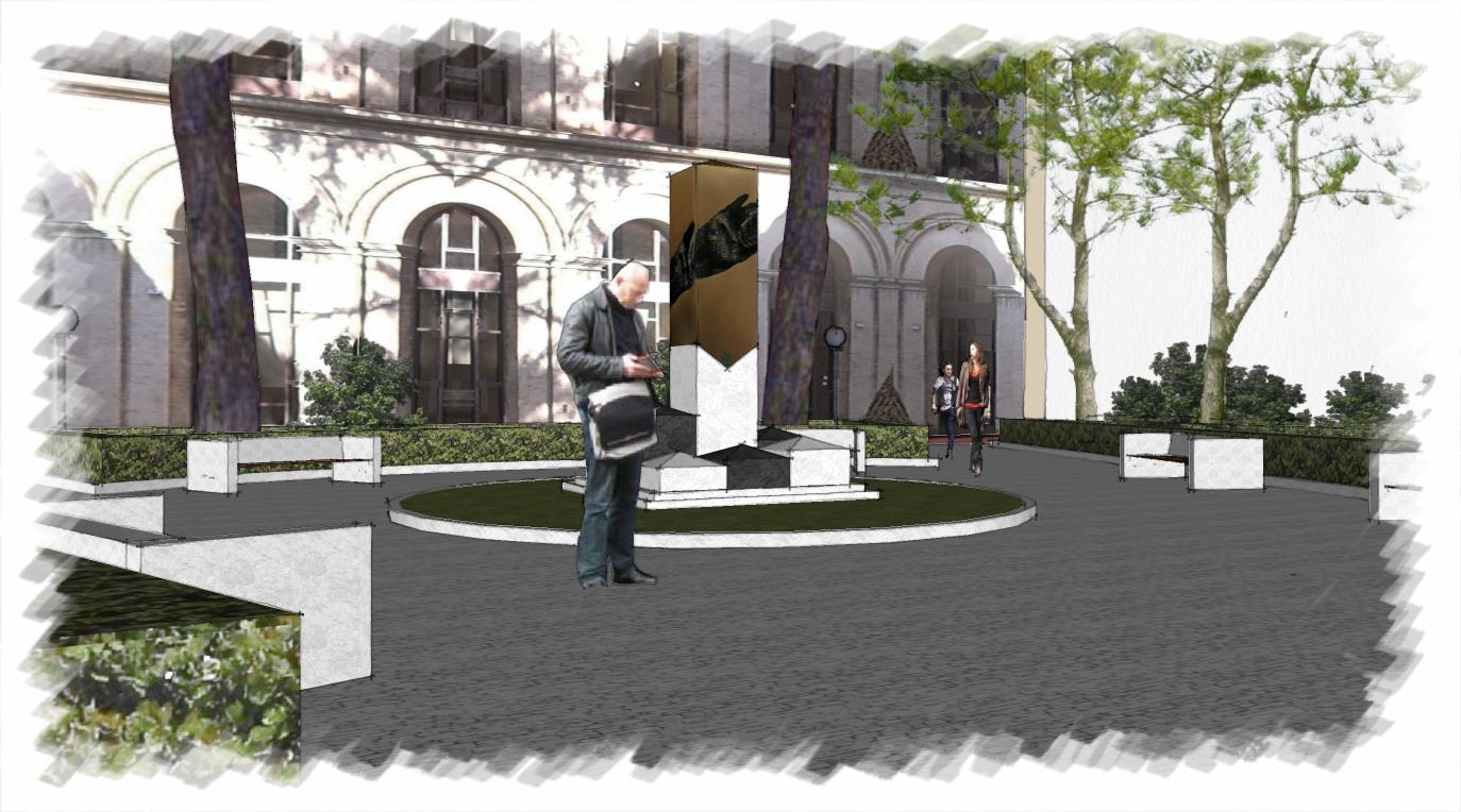 """La statua di Ermenegildo Pannocchia che il comitato """"Stringiamoci a coorte"""" vorrebbe donare alla città di Macerata"""