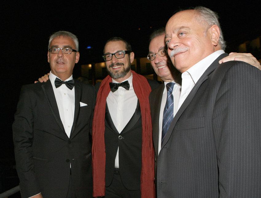Il presidente di Confindustria Giorgio Squinzi con Romano Carancini, Antonio Pettinari e Francesco Micheli durante la scorsa edizione del Macerata Opera Festival