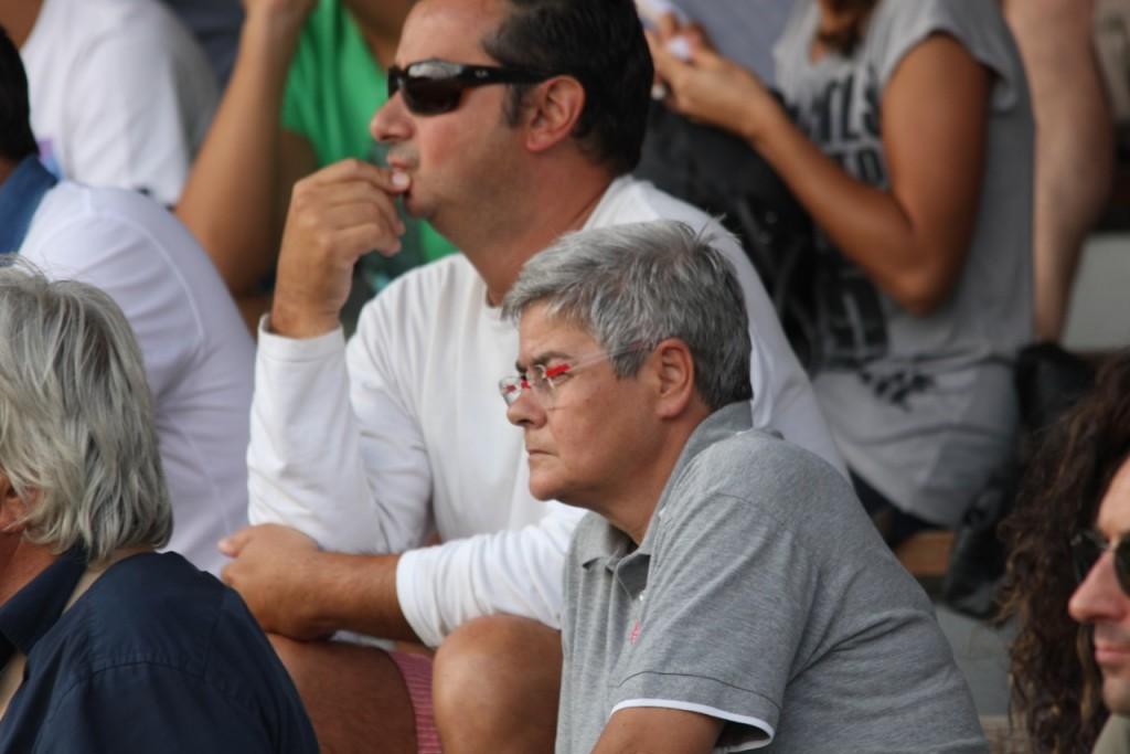 Il presidente della Maceratese Maria Francesca Tardella in tribuna all'Helvia Recina nel match contro l'Ancona