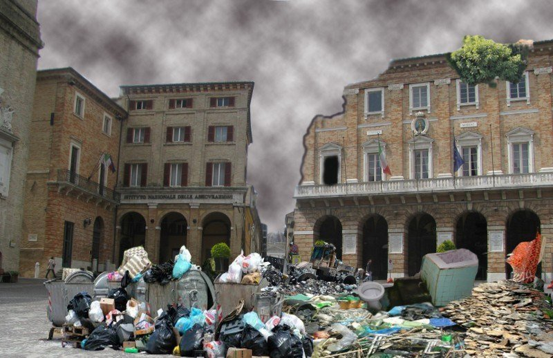 Rifiuti a Macerata (foto-ritocco di Filippo Davoli)