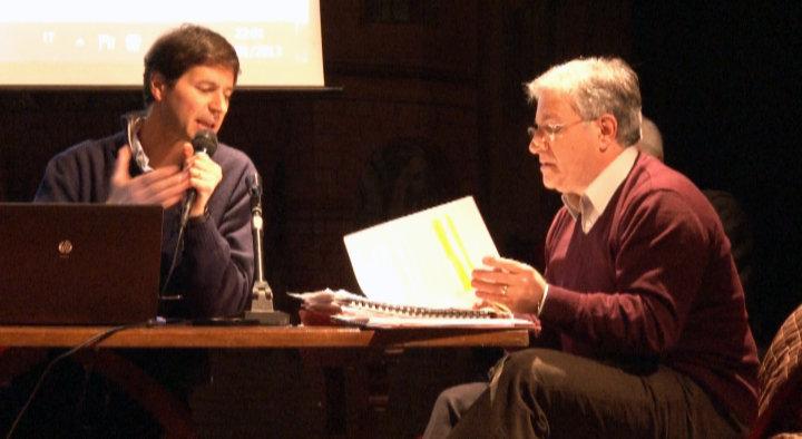 Luca Ferreli (Terna) e Giampiero Feliciotti (Presidente Comunità Montana Monti Azzurri) durante un incontro pubblico sull'elettrodotto