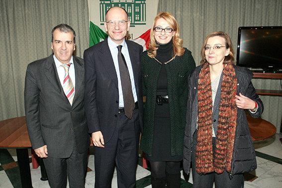 Enrico Letta con i nuovi eletti, Mario Morgoni e Irene Manzi