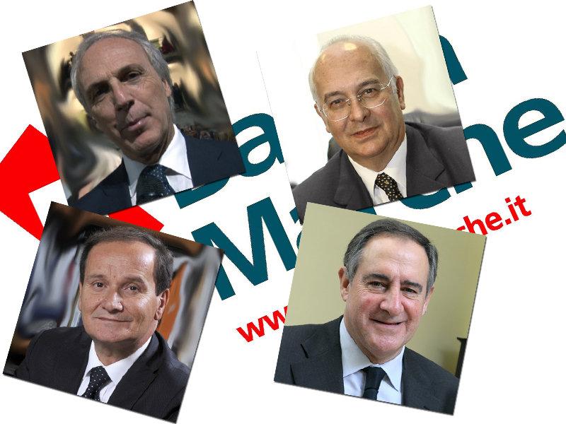 L'ex d.g. Massimo Bianconi, il vice-presidente Michele Ambrosini, l'attuale d.g. Luciano Goffi e il presidente Lauro Costa