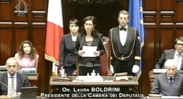 Il saluto di Laura Boldrini, dopo l'elezione alla presidenza della Camera