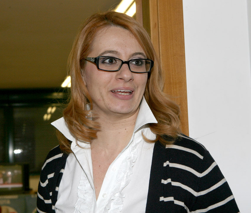 Irene Manzi lunedì scorso nella sede elettorale del Pd in attesa dei risultati elettorali