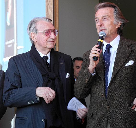 Franco Moschini e Luca Cordero di Montezemolo durante la presentazione del Poltrona Frau Museum a Tolentino