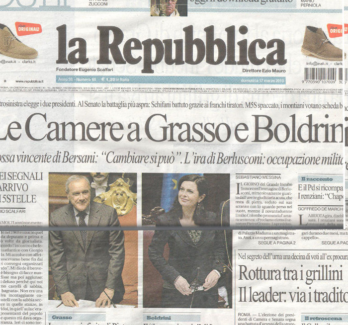 La prima pagina de La Repubblica di oggi