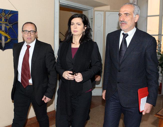 La presidente della Camera Laura Boldrini stamattina al Comune di Civitanova tra il sindaco Corvatta e il vice- sindaco Silenzi
