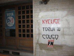 Le scritte  di Forza Nuova contro il Ministro Kyenge