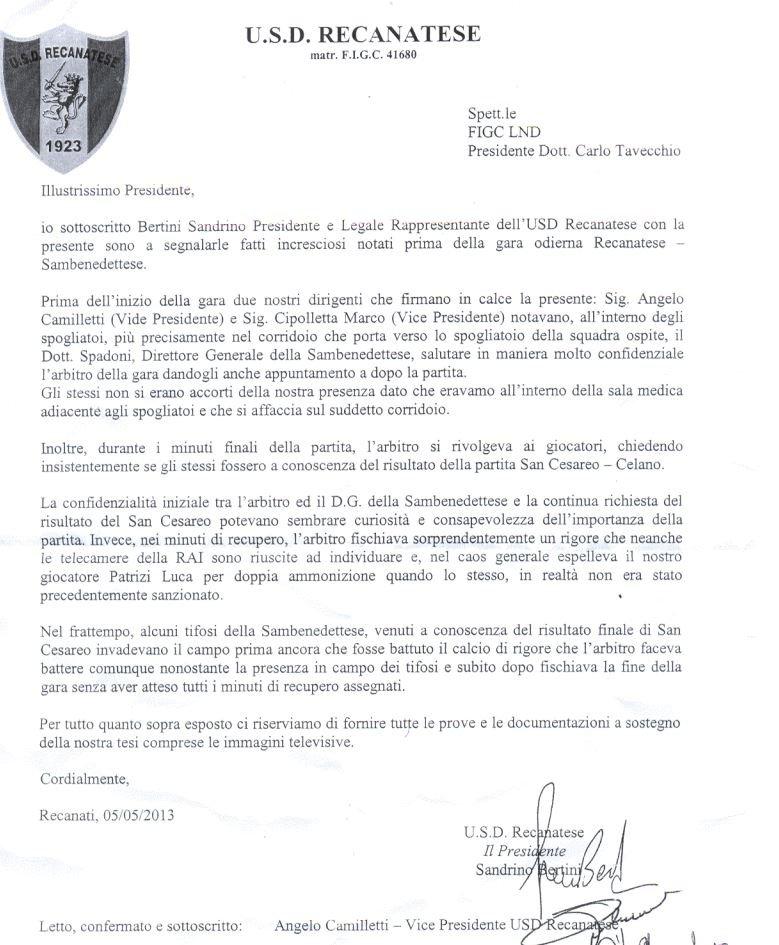 La lettera inviata dalla dirigenza della Recanatese a Tavecchio