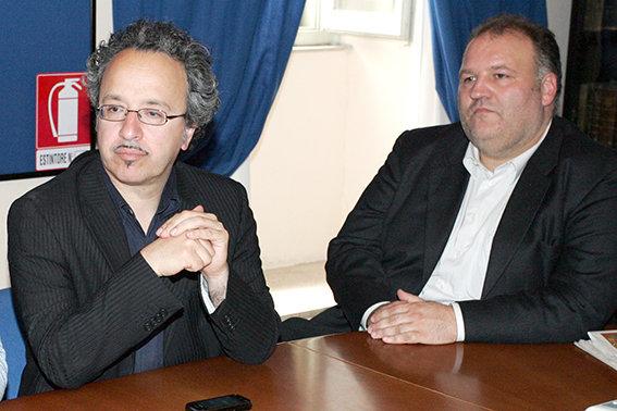 Daniele Piatti, sindaco di Loro Piceno (a sinistra) ed Eraldo Mosconi, sindaco di Sant'Angelo in Pontano