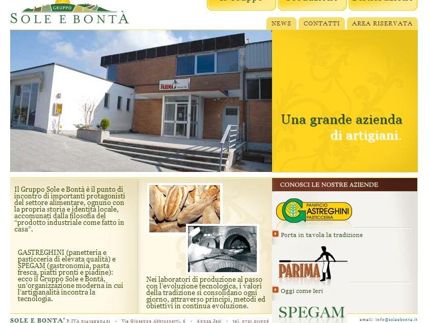 A destra, nella home page del gruppo Sole e Bontà, il logo Parima