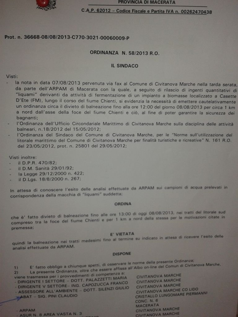 L'ordinanza firmata questa mattina dal sindaco