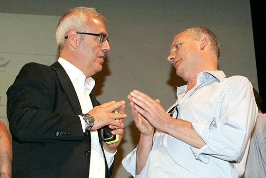 Con il patron della Lube Fabio Giulianelli, prima del trasferimento della squadra di volley a Civitanova