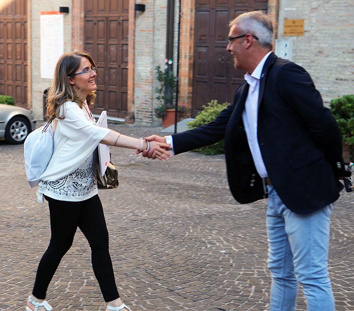 La presidentessa della Lube Volley Simona Sileoni e il sindaco di Macerata, Romano Carancini