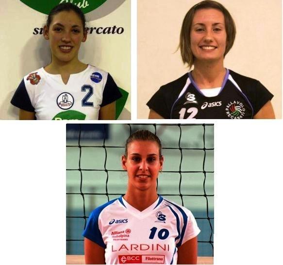Tre dei quattro nuovi acqusiti: da sinistra Giulia Caschetto, Roberta Mengascini e Debora Bernardini