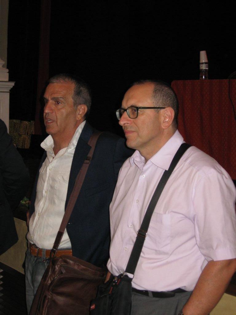 Il senatore Pd Mario Morgoni e il Sindaco di Civitanova Marche, Claudio Corvatta.