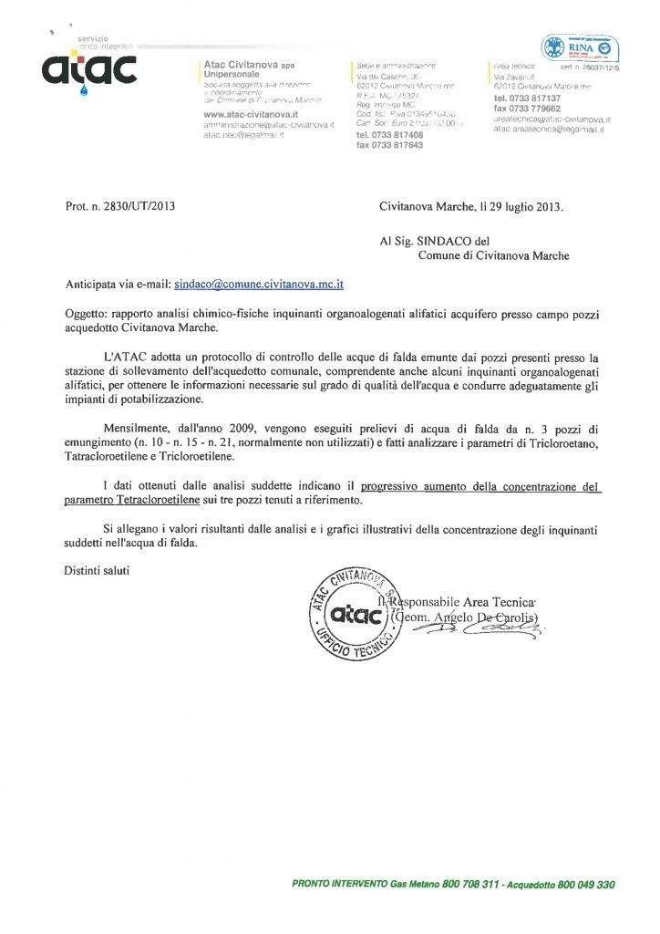 Il rapporto Atac inviato al comune di Civitanova Marche.