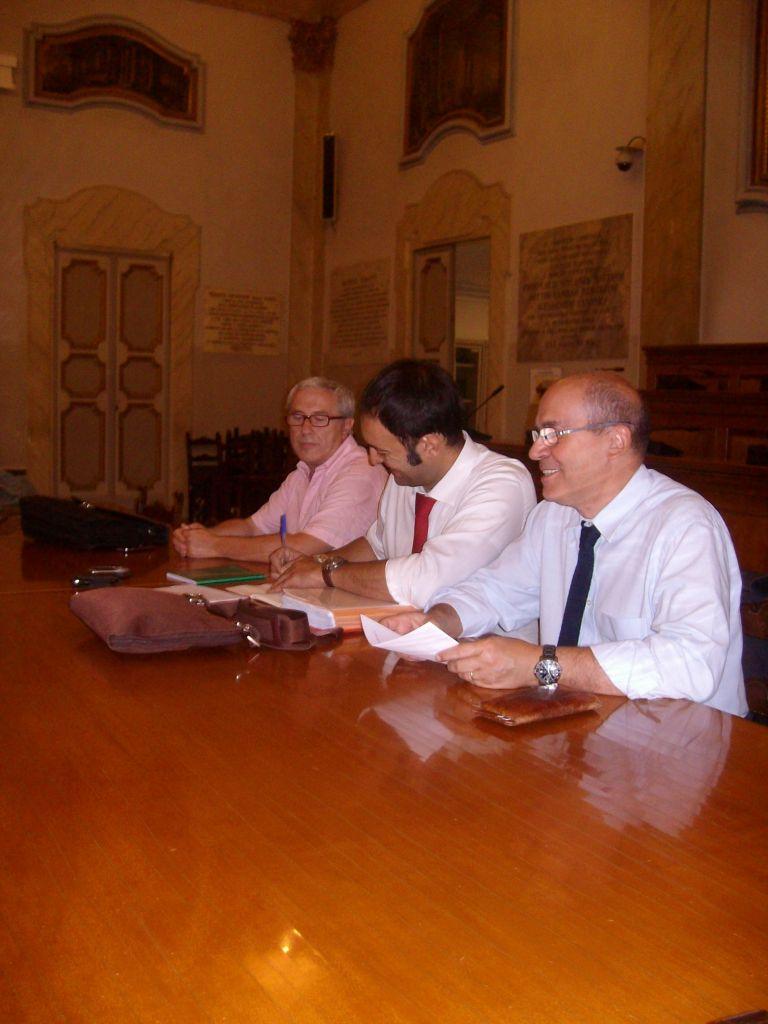 I segretari di Fiba-Cisl, Fisac-Cgil e Dircredito in Bm.
