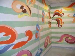 Uno delle opera d'arte sulle pareti dell'unità operativa di radioterapia