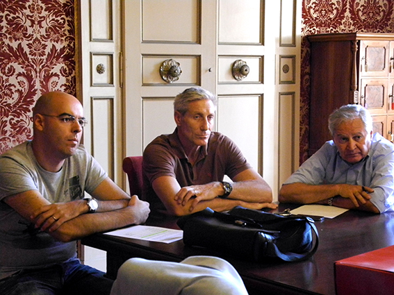 Da sinistra: Marco Tentella, Stefano Recine ed Albino Massaccesi presenti alla conferenza stampa in Comune