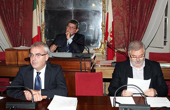 Il sindaco Romano Carancini e l'assessore Alferio Canesin