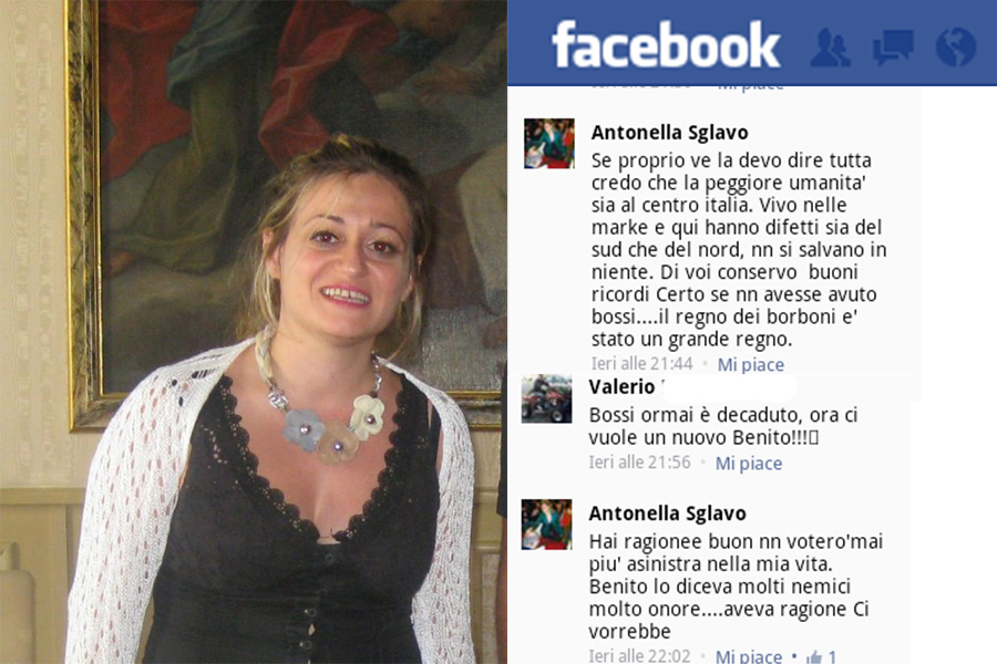 L'assessore Antonella Sglavo. A destra, i suoi messaggi su facebook
