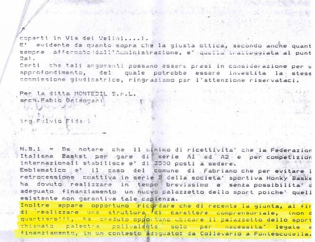 La lettera inviata il 2 maggio 1984 dalla Montedil srl al Comune (seconda parte)