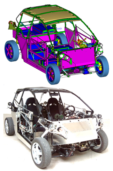 Il modello del telaio sviluppato all'Università di Camerino e il prodotto finale