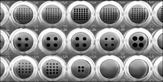 """Un ingrandimento del microarray, ogni """"bottone"""" è una sonda genica in grado di rivelare la presenza di uno specifico organismo"""
