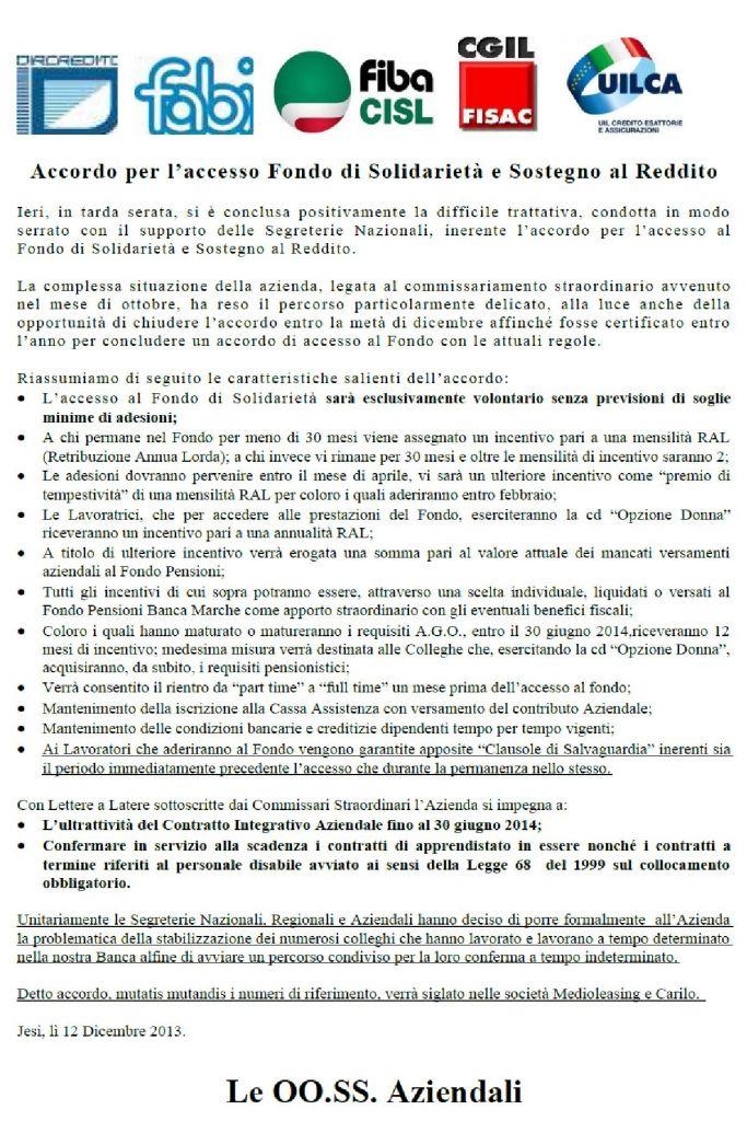 Il comunicato unitario rilasciato rilasciato oggi dalle rappresentanze sindacali di Banca Marche