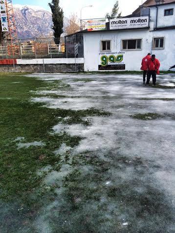 Il campo di Sulmona ghiacciato