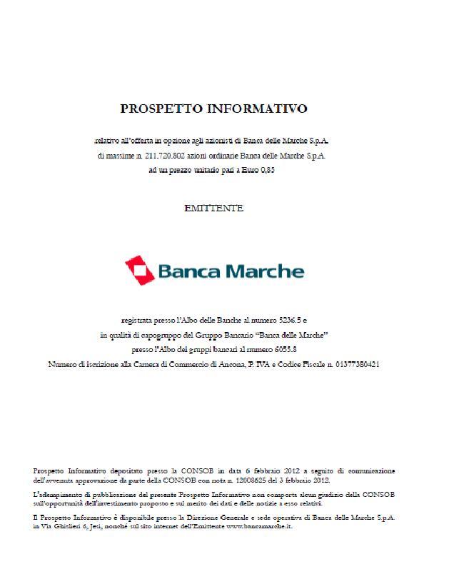 Il frontespizio del prospetto informativo relativo all'aumento di capitale BM del 2012