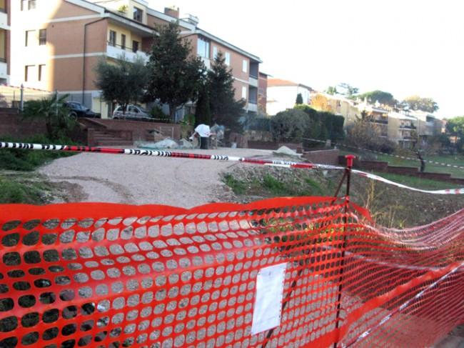 L'area sequestrata in via Mattei a Macerata