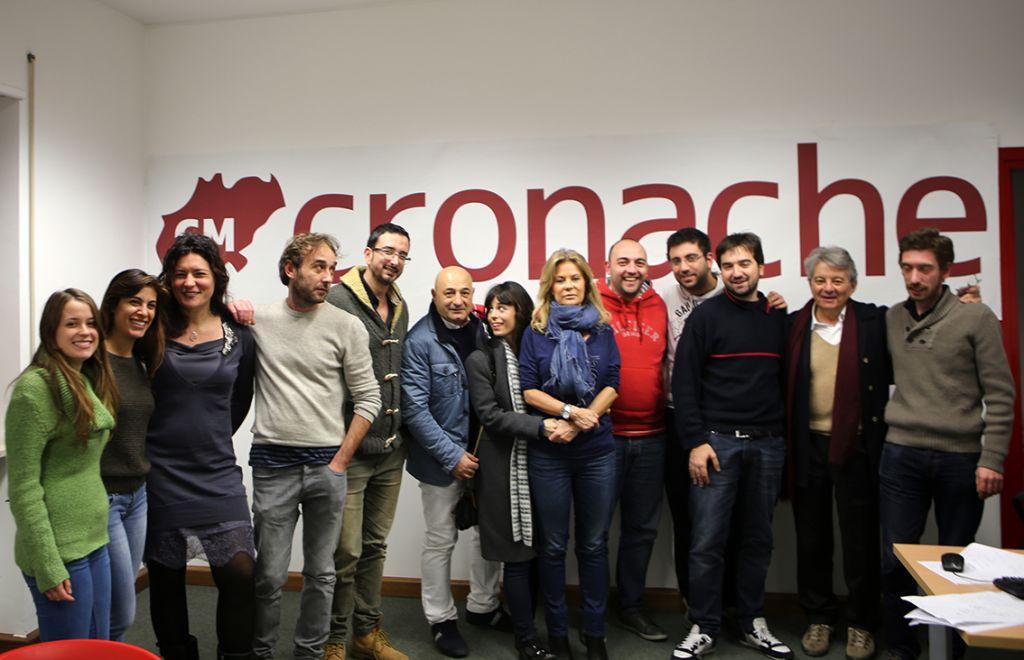 Emmanuelle de Villepin e Adriano Sofri in visita a Cronache Maceratesi