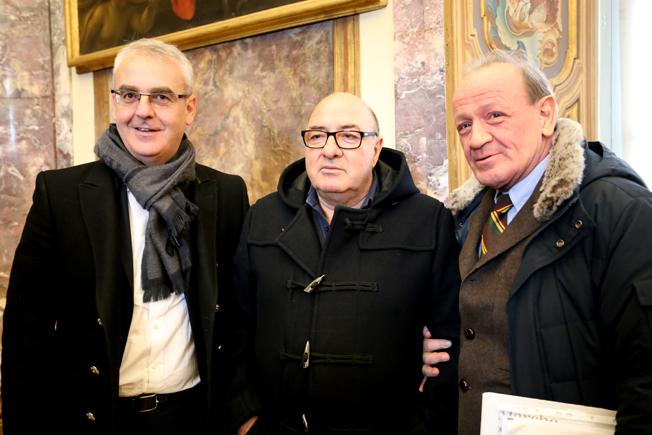 Dante Ferretti oggi a Palazzo Buonaccorsi con il sindaco Carancini e l'assessore Marcolini