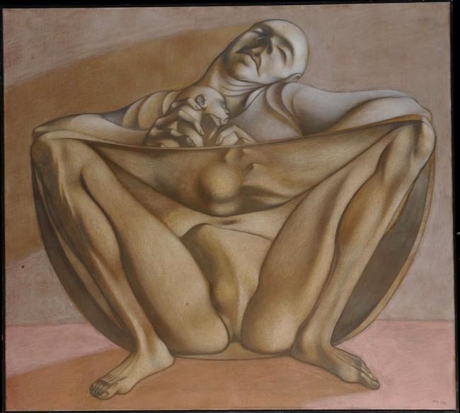 Maternità-1991-olio-su-tela-90x100-www.cambiaste.com_-650x583