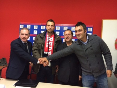 Da sinistra: il dg Bresciani, mister Gabbanini, il presidente Di Stefano e il ds Trovarello