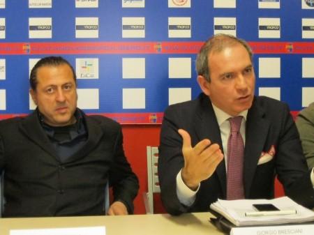 Il presidente della Civitanovese Attilio di Stefano e il dg Giorgio Bresciani