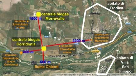 distanze centrali biogas Corridonia e Morrovalle