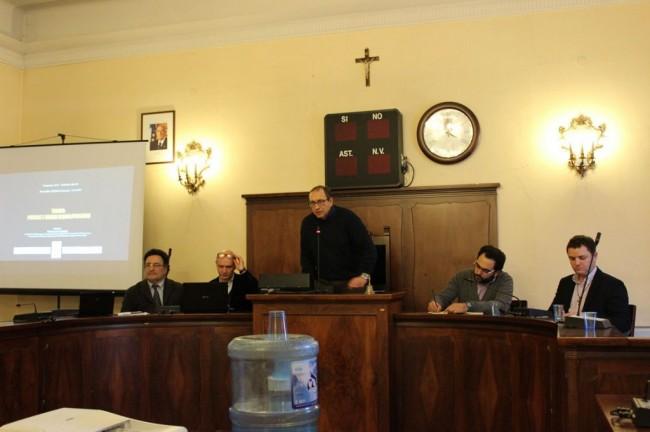 Da sinistra: l'architetto Polci, il dirigente Scarpecci, il sindaco Corvatta e gli assessori Peroni e Micucci