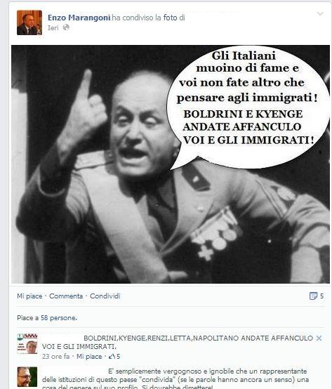 Il post condiviso dal consigliere Marangoni su Facebook