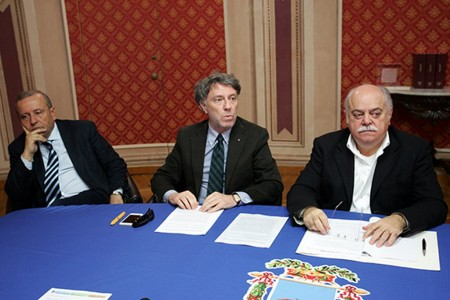 Da sinistra il direttore Giampaoli e i presidenti Sparvoli e Pettinari